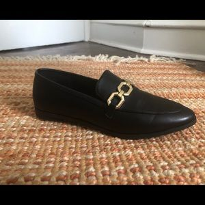 H&M black dressy flats/ loafers with gold chain